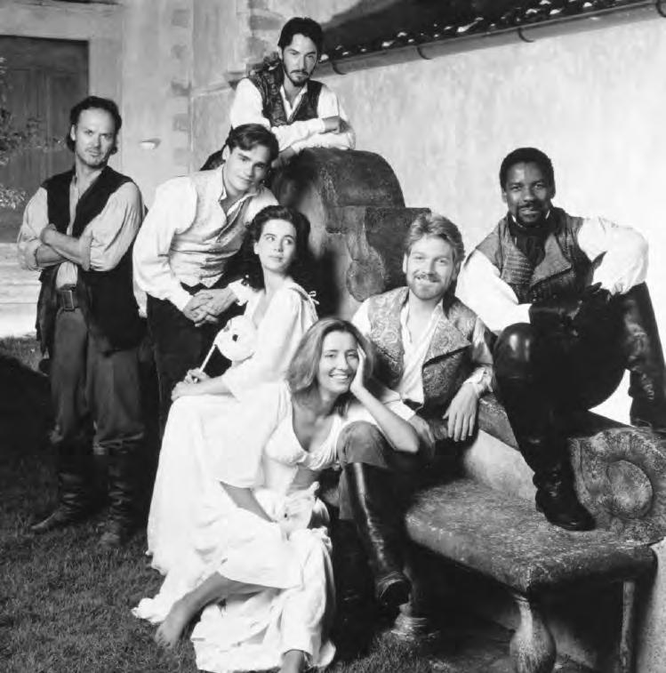 2 30. Publicity photo for Much Ado About Nothing (Britain, 1993), with Michael Keaton, Keanu Reeves, Robert Sean Leonard, Kate Beckinsale, Emma Thompson, Kenneth Branagh, and Denzel Washington,