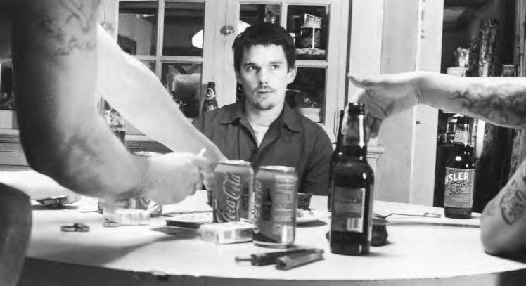 96 Mise en Scène 2 37. Training Day (U.S.A., 2001), with Ethan Hawke, directed by Antoine Fuqua. Why is this shot threatening?