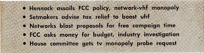 BROA TE STING CASTI NG May 2, 1955 CONGRESS PUTS STEAM BEHIND RADIO, TV INVESTIGATIONS Hennock assails FCC policy, network -vhf monopoly Setmakers advise tax relief to boost uhf Networks blast