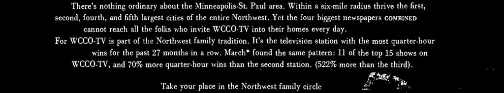 Yet the four biggest newspapers COMBINED cannot reach all the folks who invite WCCO -TV into their homes every day.