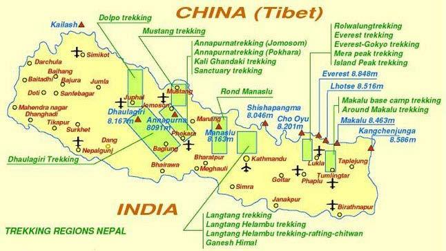 45 Chapter 3 Nepal s Trekking Industry: Cast and Setting Map of Nepal s trekking regions.