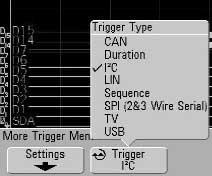 7. Acquire. Select Serial Decode softkey and then turn on Decode to enable I 2 C serial decode function.