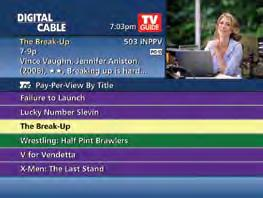 digital pay-per-view i-guide makes ordering and watching Pay-Per-View (PPV) programs easy. Order Pay-Per-View From the Main Menu and Quick Menu, select PPV to go to the PPV Menu.