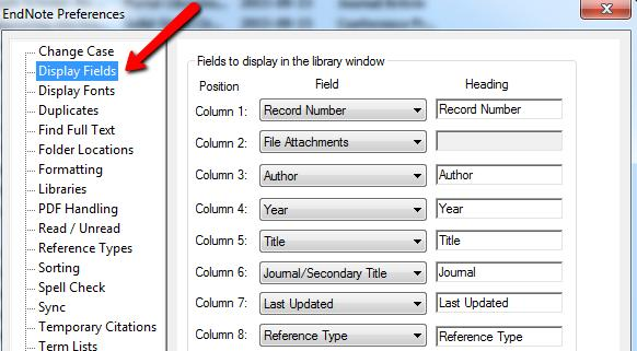 Customise the Appearance of your EndNote Library The fields displayed can be changed according to your own preferences. Go to Edit Preferences and choose Display Fields.