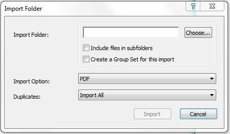 Click on Choose and find the article by scrolling down. Click on Import. Several articles in one folder: Go to File Import Folder. Click on Choose and find the correct folder. Click on Import. (Note: Older articles might not have functional DOI for this import function.