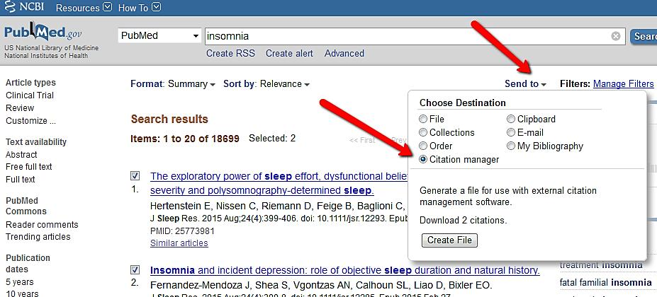 PubMed All of your search results or selected references from the list can easily be imported to your EndNote Library.