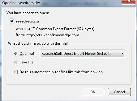 Then select Open with ResearchSoft Direct Export Helper.