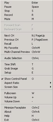 3.4 Right click menu The following functions will appear when