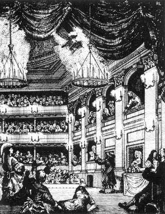 Drury Lane interior, 1674 One of the two Patent theatres Note