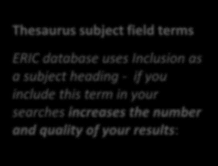 Thesaurus subject field terms ERIC database uses Inclusion as a subject heading - if