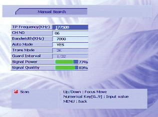 Manual Search This option lets you search for a particular channel (or all channels from a specified broadcaster).