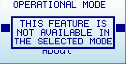 Operational Mode menu The menu display different functional modes available in your Analyzer. Use [Up] and [Down] arrow keys to select the activate it immediately.