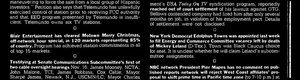 """ Petition also says that Telemundo has unlawfully exercised control of station prior to receiving FCC authority and that EEO program presented by Telemundo is insufficient."