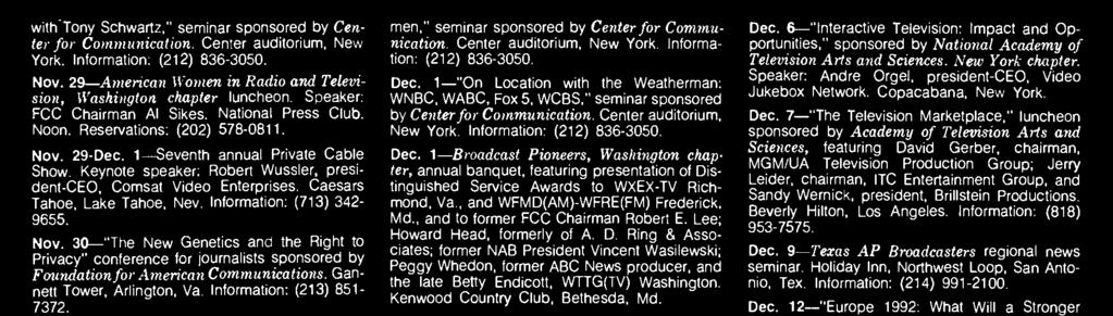 1- Broadcast Pioneers, Washington chapter, annual banquet, featuring presentation of Distinguished Service Awards to WXEX -TV Richmond, Va., and WFMD(AM) -WFRE(FM) Frederick, Md.