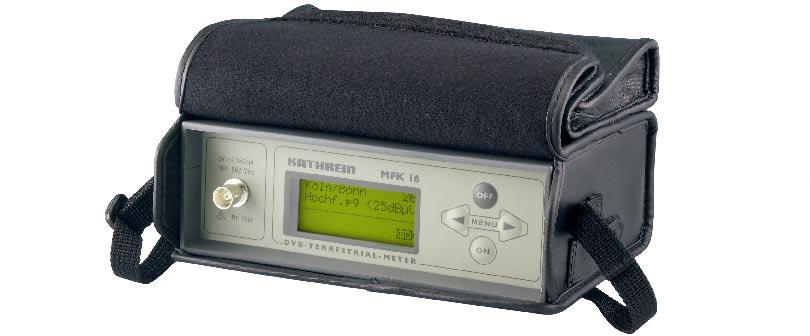 Product package MFK 16 signal meter with integral battery, protective bag and carrying strap The MFK 16 product package includes: - MFK 16 signal meter, - operating manual, - leather