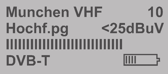 The second display readout indicates: - the last region selected, - the channel number, - the received HF level in dbμv as a bar indicator, - the battery state of charge.