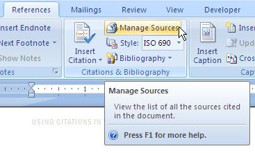 UNDERSTANDING WORD S CONCEPT OF SOURCES A source is any reference, such as a book, an article, or a web site, that you d like to cite in a document.