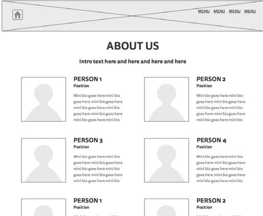 wireframing Initially, my About page