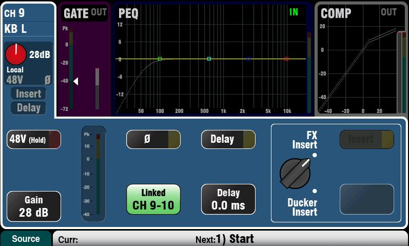9.4 Set a starting point for processing and mix parameters Start by using the Processing screen Preamp page Linking button to link parameters for any odd/even stereo pairs of channels you may need.