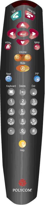 V500 Remote Control Place or answer a call End a call Navigate through menus Return to the Place a Call (home) screen Increase or decrease the sound you hear from the far site(s) Confirm your current