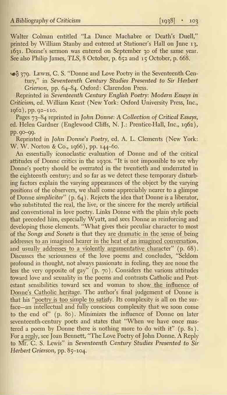 "A Bibliograplly of Criticism Walter Colman entitled ""La Dance Machabre or Death's Duell,"" printed by W illiam Stanby and entered at Stationer's Hall on June 13, 1631."