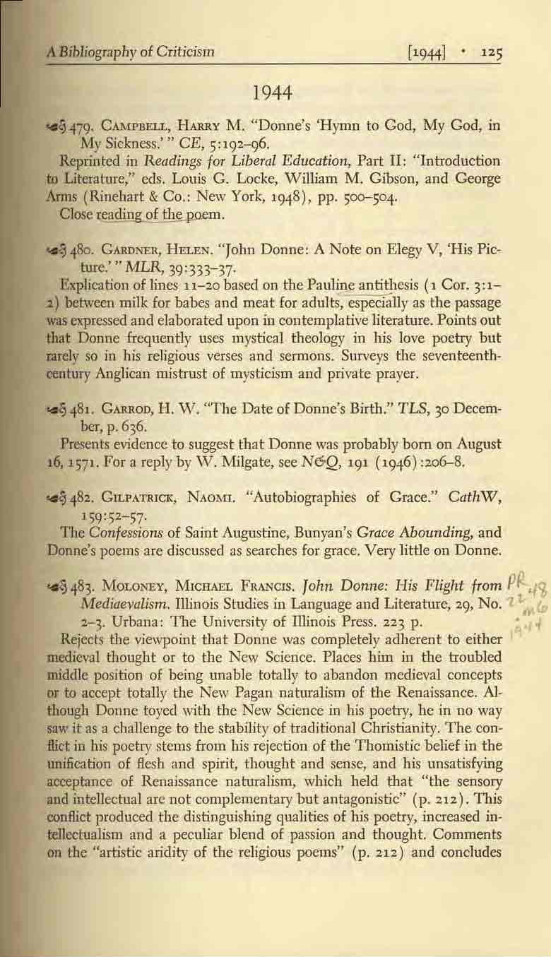 "A Bibliograpl1y of Criticism 1944 ~ 479. CAMPBELL, HARRY M. ""Donne's 'Hymn to God, My Cod, in My Sickness.''' CE, 5:192-96."