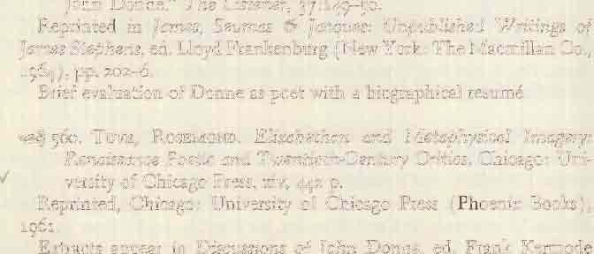 """Donne and Sonnets IX and X,"" in Gifthorse: A Yearbook of Writing, pp. 15-18. Columbus: Association of Graduate Students in English, The Ohio State University."