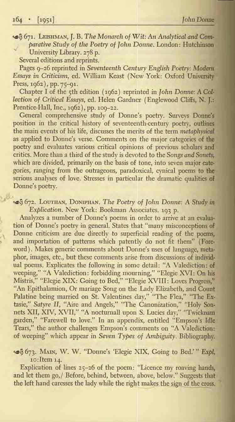 John DollDC, ~ 671. UlSlTh1A.N, J. B. The Monarch of '\17it: An Analytical and C~ parative Study of the Poetry of John Donne. London: Hutchinson.; University Library. 278 p.