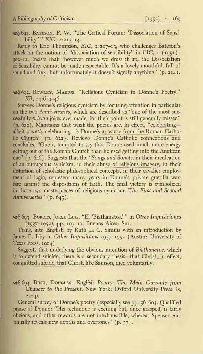 "A Bibliography ot Criticism ~&}J. BATESON, F. W. ""The Critical Forum: 'Dissociation of Sensibility.'"" EIC, 2:213-14."