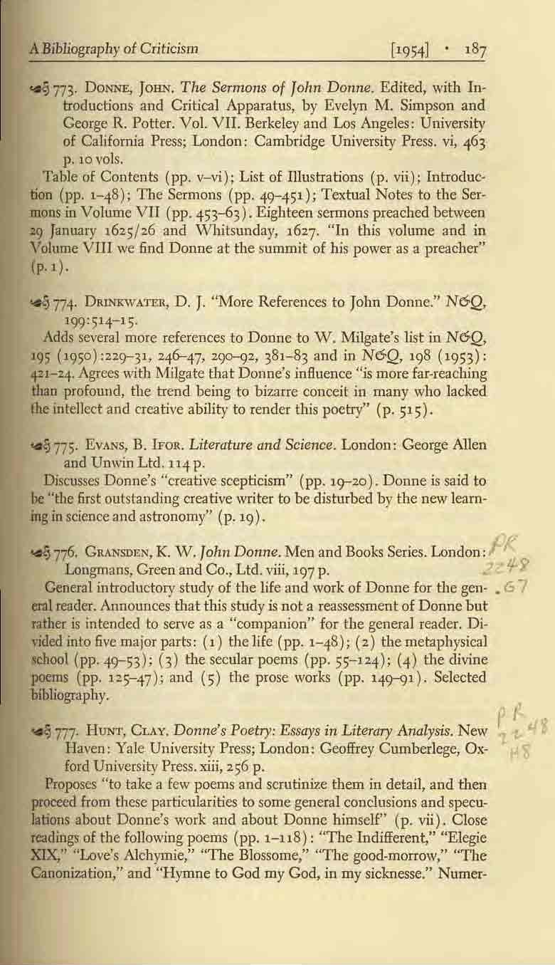 A Bibliography of Criticism ~ 773. DoNNE, JOHN. The Sermons of Jolm Donne. Edited, with Introductions and Critical Apparatus, by Evelyn M. Simpson and George R. Potter. Vol. VII.