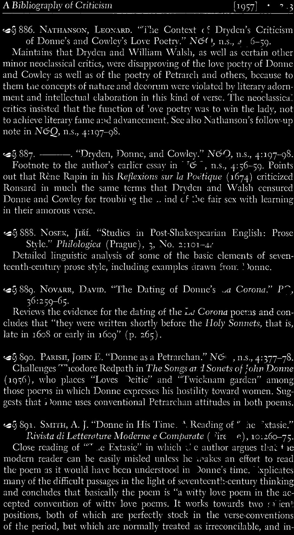 ". ""Dryden, Donne, and Cowley."" N6Q, n.s., 4:197-<)8. Footnote to the author's earlier essay in N6Q, n.s., 4: 56-59."