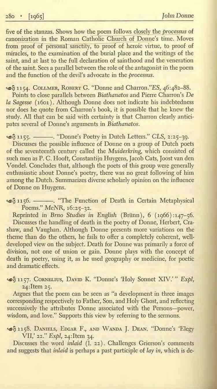 John Donne five of the stanzas. Shows how the ~oem follows closely' th~l2rocessus of canoni7.ation in the Roman Catholic Church of Donne's time.
