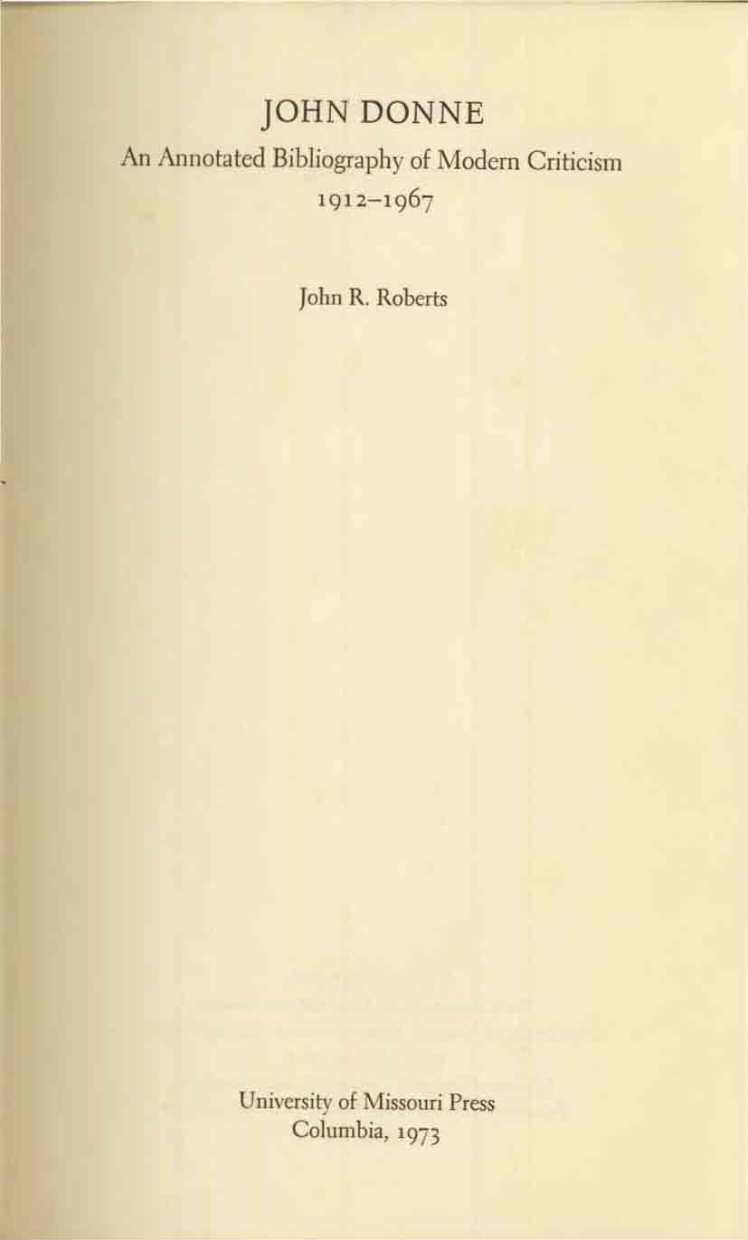 JOHN DONNE An Annotated Bibliography of Modern Criticism