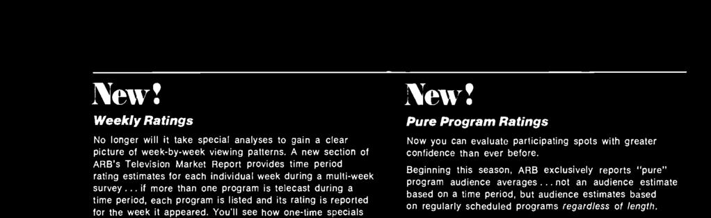 "Beginning this season, ARB exclusively reports ""pure"" program audience"