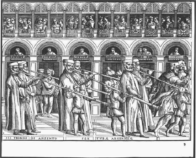 Songs for Instruments : Music from the Earliest Notations to the Sixte... 6 / 10 2011.01.27. 14:05 fig. 18-6 Venetian musicians in the service of the doge playing six silver trumpets in procession.