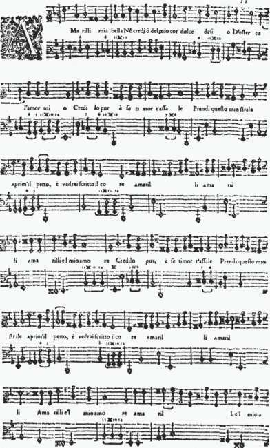 Madrigals and Arias Redux : Music from the Earliest Notations to the Si... 2 / 10 2011.01.27. 14:07 fig. 19-5 Giulio Caccini, Amarilli mia bella (Le nuove musiche, 1601).
