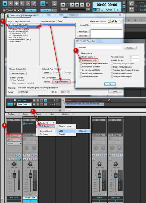 Enter the Cakewalk Plug-in Manager, select Bitspeek and click Plug-in Properties. 2. Turn on Configure as synth and click OK.