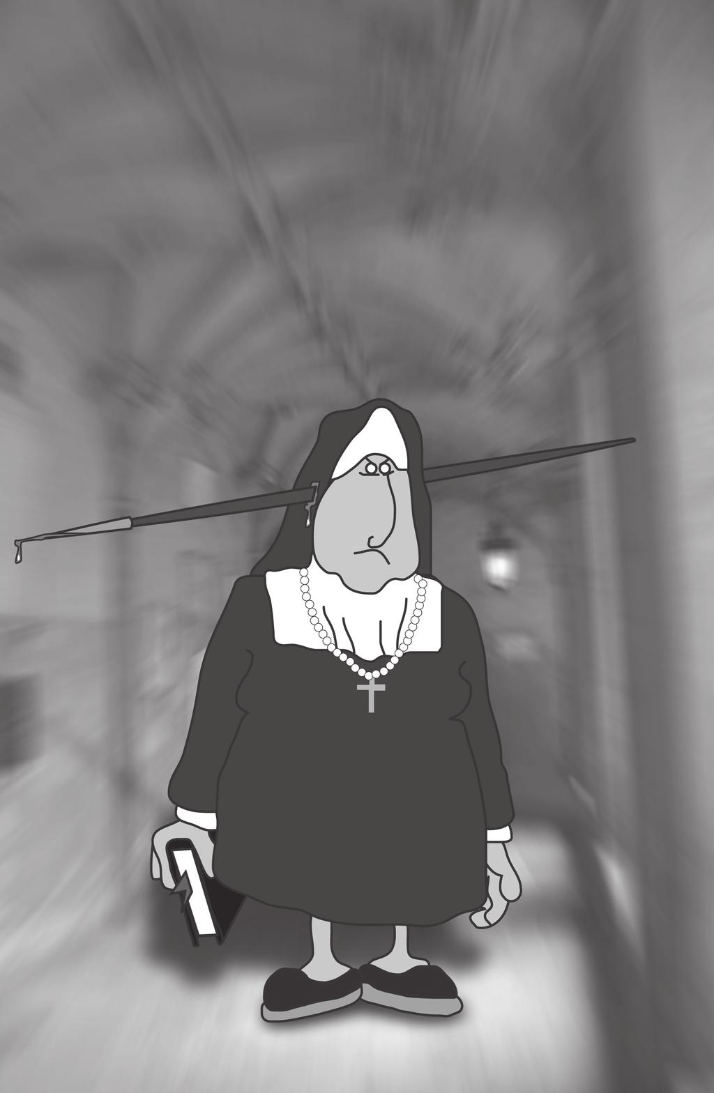 Religion and racism What s black and white and can t turn round in corridors? A nun with a javelin through her head.