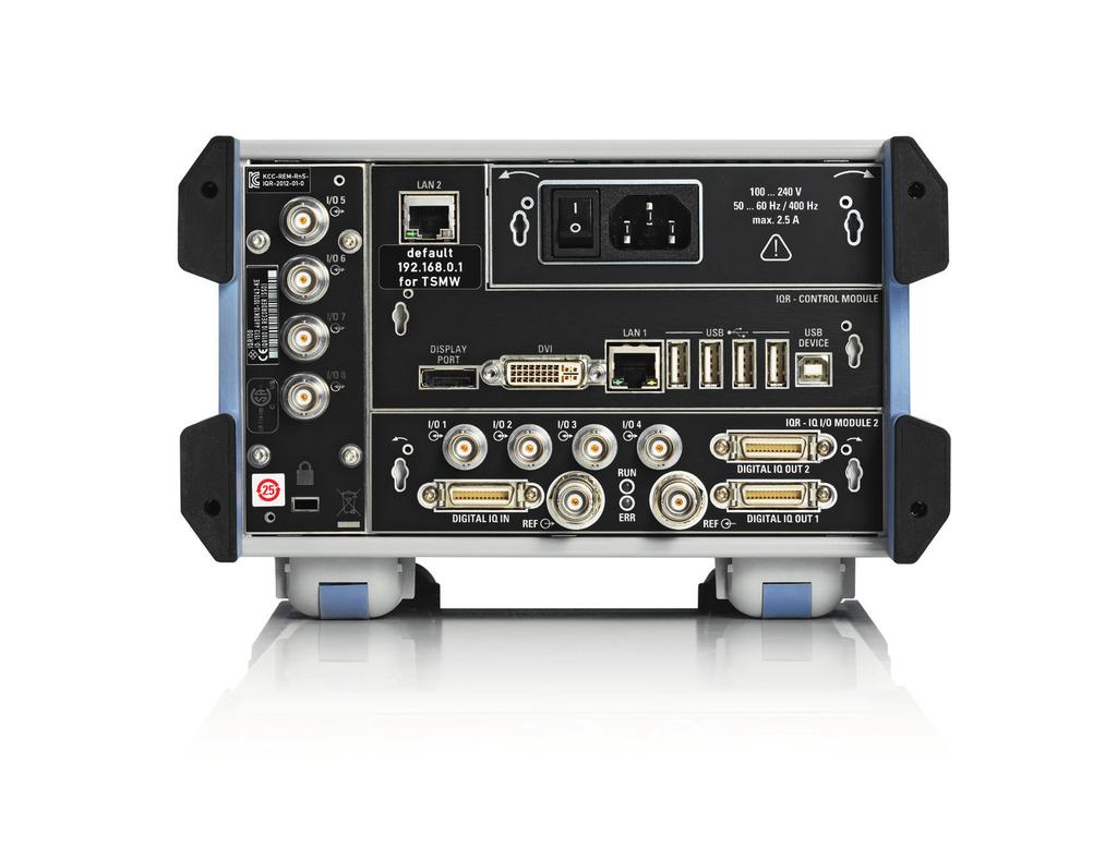 Numerous interfaces for data communications and control Ethernet interfaces for communications and data exchange The two Ethernet interfaces are used for communications between the R&S IQR and