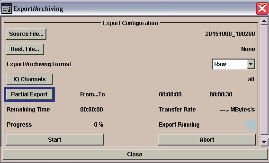 Export and import of I/Q data The R&S IQR-K101 option allows an R&S IQR I/Q data file in binary file format to be output to an external USB storage device such as a USB hard disk drive.