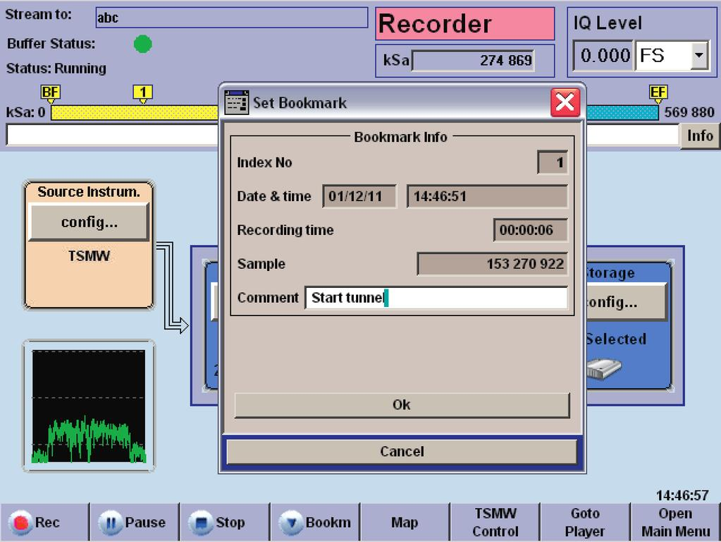start of recording, providing a type of observation mode. In conjunction with a predefined recording time (record duration), the storage requirements can be limited to the data of interest.