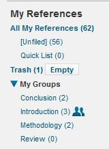 Creating groups Filing your references into groups helps you to manage them. 1. To create a group, click on the Organize tab and select the Manage my groups link 2.