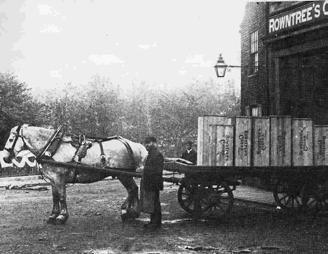 A Rowntree goods wagon prepares to make a delivery. used research to alter its product range and marketing methods with systematic testing of individual products on consumers.