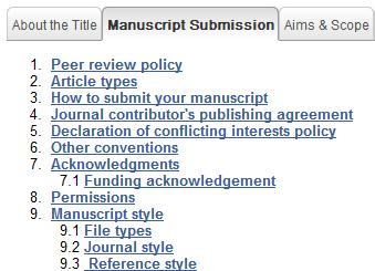 Preparing manuscripts for peer review: Check list READ the manuscript submission guidelines Referencing style