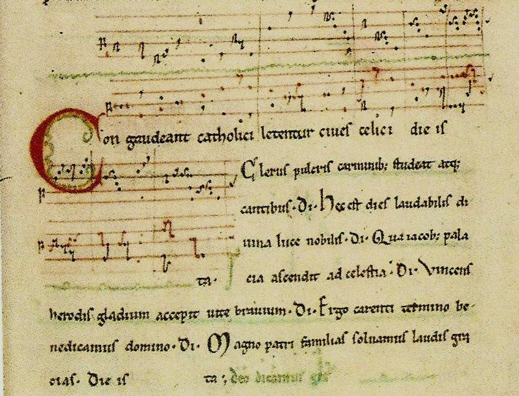 3 b) Ars Antiqua (12 th to 13 th centuries): The beginning of a polyphonic piece by Pérotin In this period polyphony had reached a certain degree of maturity, and this situation had an important
