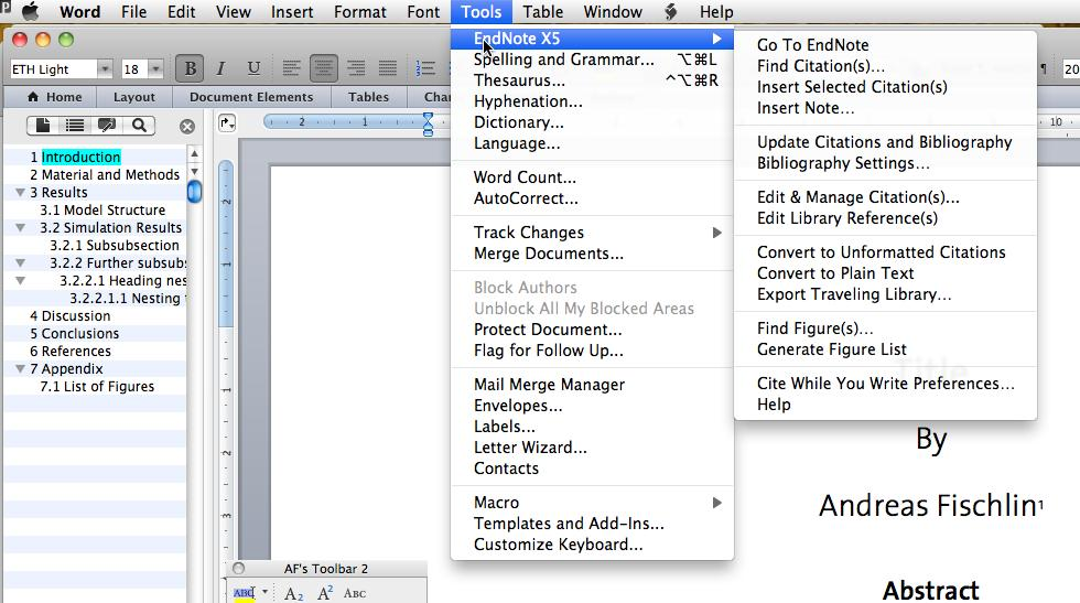 tool bar in Word 2011.
