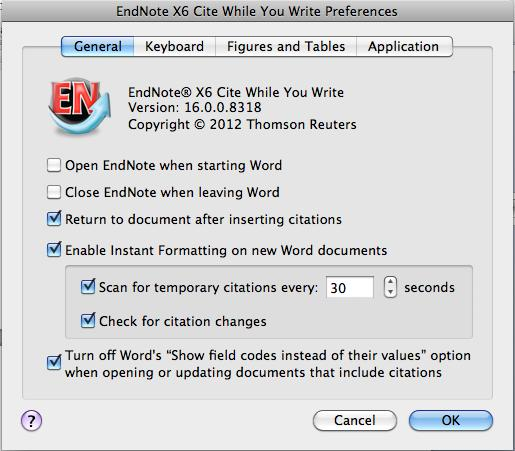 H. Turning ON/OFF instant formatting for NEW Word documents 1. To turn CWYW ON (or OFF if you do not want documents formatting as you go) click on Cite While You Write Preferences in the EndNote menu.
