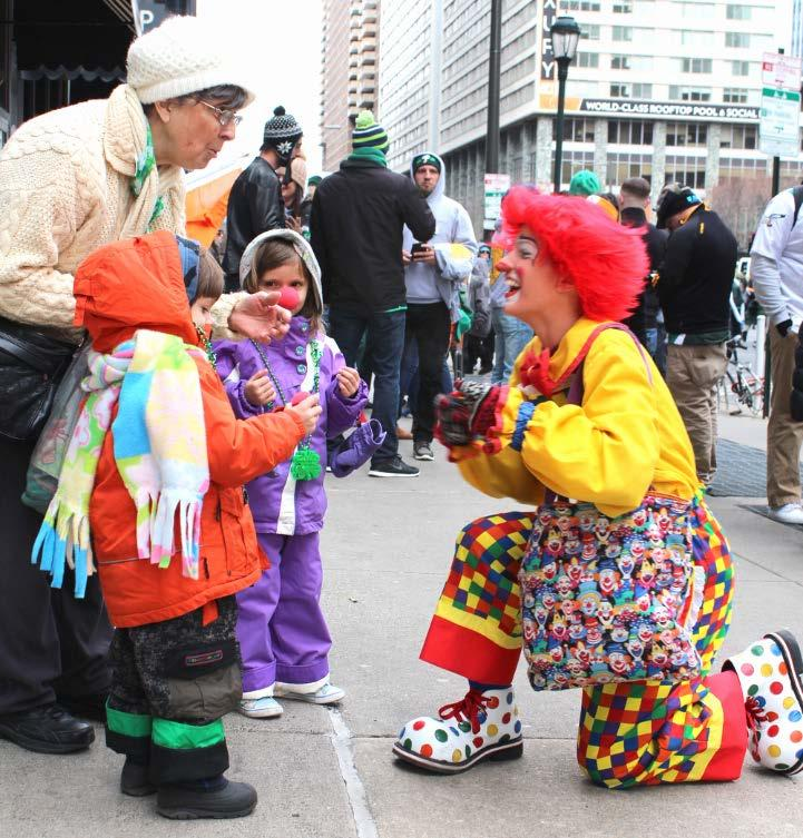 May May - The Philadelphia parade had more kids making it easier to tell jokes and give noses.