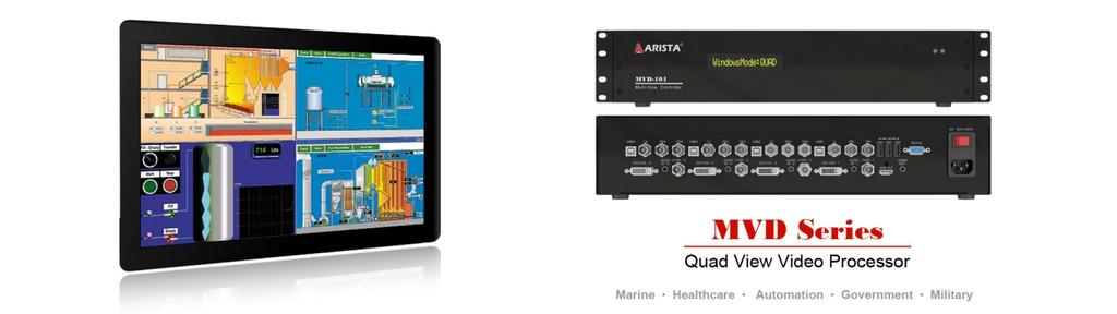 Arista Quad View Video Processor Arista's multi-viewer processors, MVD Series, offers the ability to display multiple video sources on a single LCD display, this