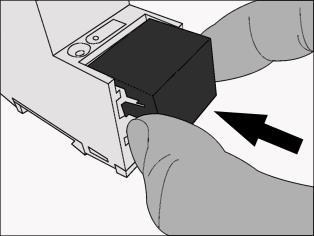 Installation, electrical connection and operation Mounting/removing a cover cap A cover cap can be mounted for protection of the KNX bus and power supply connections from